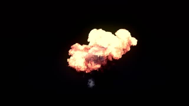 非常にリアルな火災爆発、煙およびアルファ マットを作成します。3 d レンダリング。4 k、ウルトラ hd 解像度。 - 特殊効果点の映像素材/bロール