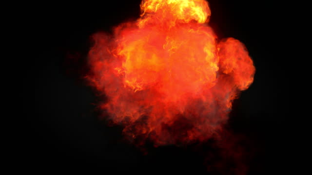 highly realistic fire explosions with smoke and alpha matte to compose. 3d rendering. 4k, ultra hd resolution. - pyrotechnic effects stock videos & royalty-free footage