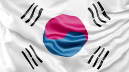A high-quality footage of 3D Korea flag fabric surface background animation