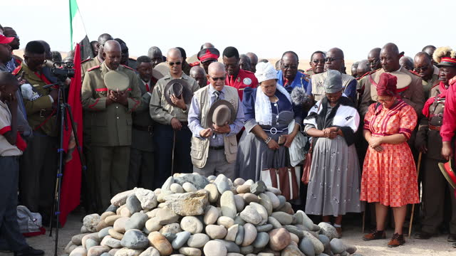 high-ranked chiefs and other members of the herero and nama communities take part on the reparation walk 2019, organized by the ovaherero genocide... - other stock videos & royalty-free footage