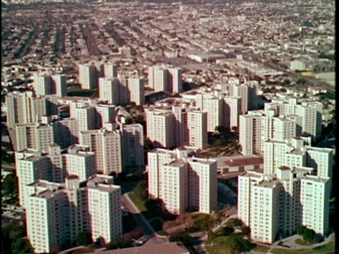 1970 aerial high-rise apartment buildings, los angeles, california, usa, audio - 1970 stock videos & royalty-free footage