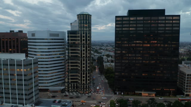 high-rise buildings in westwood - aerial drone shot - wilshire boulevard stock videos & royalty-free footage