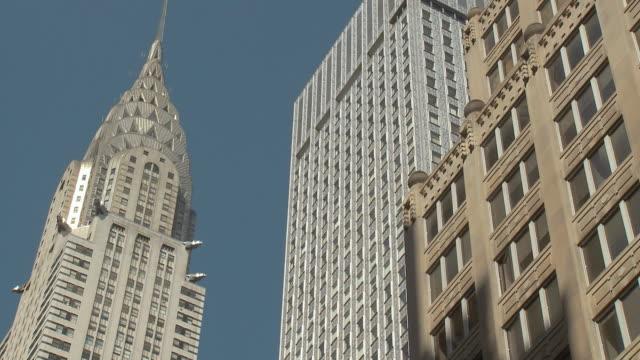 MS LA High-rise buildings including Chrysler Building against blue sky / New York City, USA