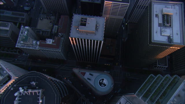 aerial high-rise buildings of downtown san francisco at dusk, california, usa - san francisco california stock videos and b-roll footage