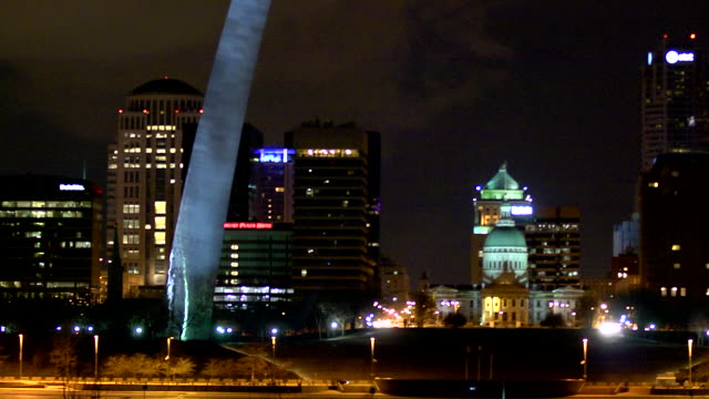 Highrise office buildings base of Gateway Arch Old Courthouse and riverfront of the Mississippi River