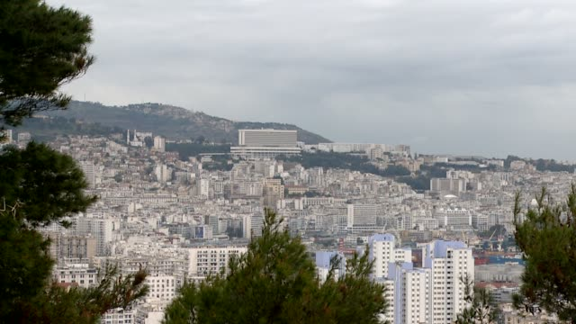 High-rises fill the capital city of Algiers. Available in HD.