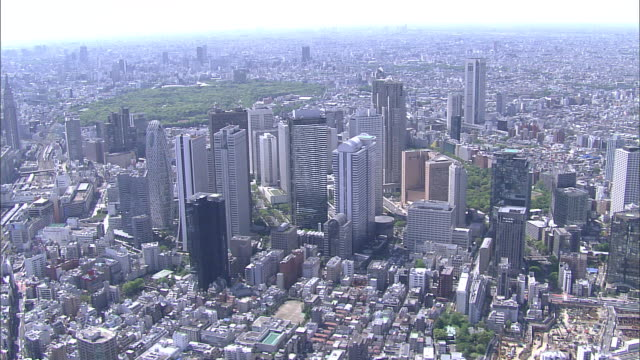 Highrises mark the location of the Shinjuku Subcenter in an aerial of Tokyo, Japan.