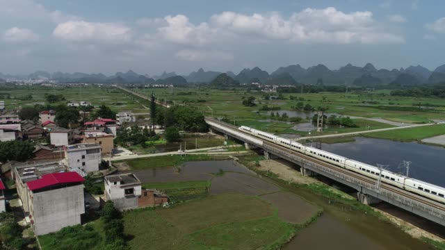 high-speed railway running in karst landform - treno video stock e b–roll