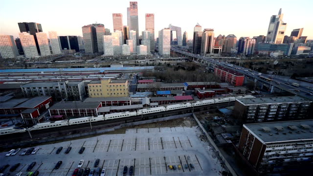 WS HA High-speed Train Passing Downtown Beijing / Beijing, China