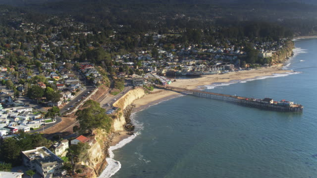 hight drone view of capitola, california - santa cruz county california stock videos & royalty-free footage