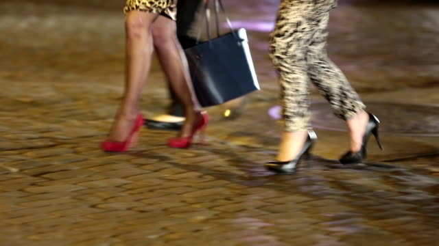hight heels of women walking at night street / chelsea market, new york, united states - chelsea new york stock videos & royalty-free footage