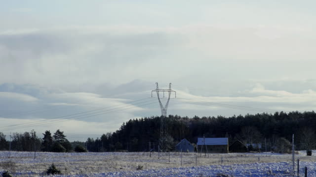 high-voltage line in winter - grid pattern stock videos and b-roll footage