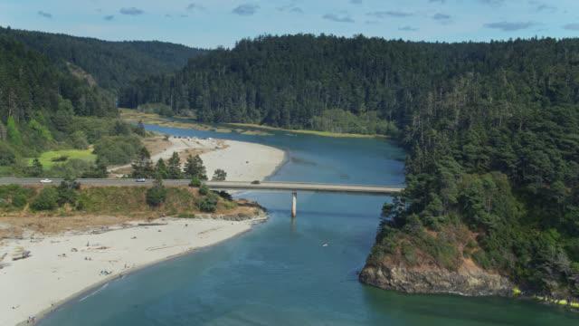 highway 1 crossing big river estuary in mendocino, california - drone shot - estuary stock videos & royalty-free footage