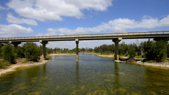 highway 1 - galena bridge over the murchison river. western australia - riverbank stock videos and b-roll footage