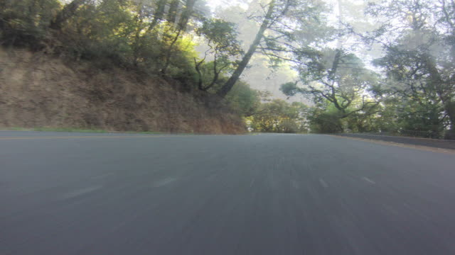 Highway 1, running on a bluff above the Pacific Ocean, as part of a long climb to the summit of Mt. Tamalpais in Marin County, California.  This pristine stretch of highway is a favorite spot for bicyclists and hardy runners on the weekend.