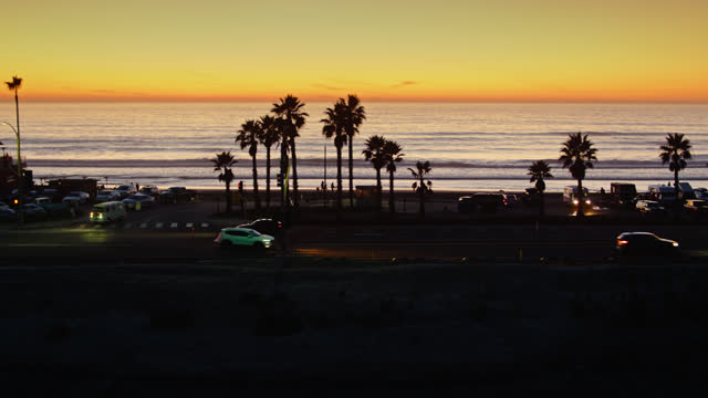 highway 101 in cardiff-by-the-sea at sunset - aerial - san diego stock videos & royalty-free footage