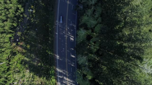 """highway 101 """"pacific coast scenic byway"""" nelle montagne boscose vicino a reedsport, oregon, la mattina presto in primavera. guardando in basso, direttamente sopra il video del drone aereo con il movimento della telecamera di panoramica. - oregon stato usa video stock e b–roll"""