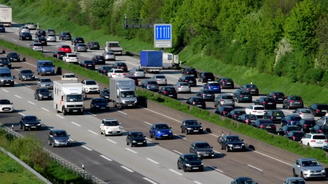 Highway A5 with traffic jam, Frankfurt am Main, Hesse, Germany