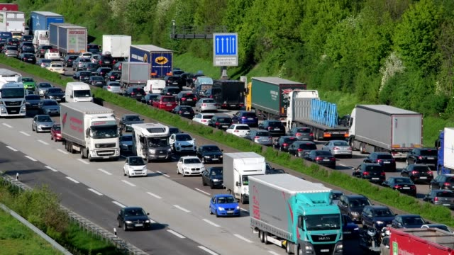 highway a5 with traffic jam, frankfurt am main, hesse, germany - hesse germany stock videos & royalty-free footage