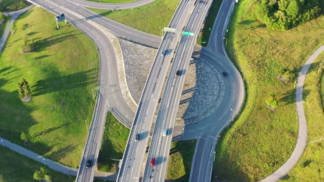 highway and roundabout in kista, stockholm - roundabout stock videos & royalty-free footage
