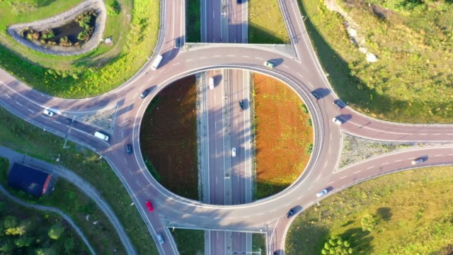 highway and roundabout in rissne / rinkeby, stockholm - roundabout stock videos & royalty-free footage