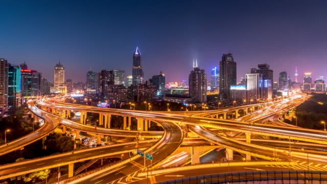 T/L Highway and skyline at night, Shanghai, China