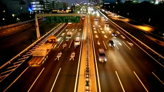 highway at night in Tokyo.