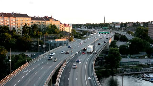 highway bridge traffic - motorway junction stock videos & royalty-free footage