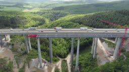 Highway bridge under construction - aerial view