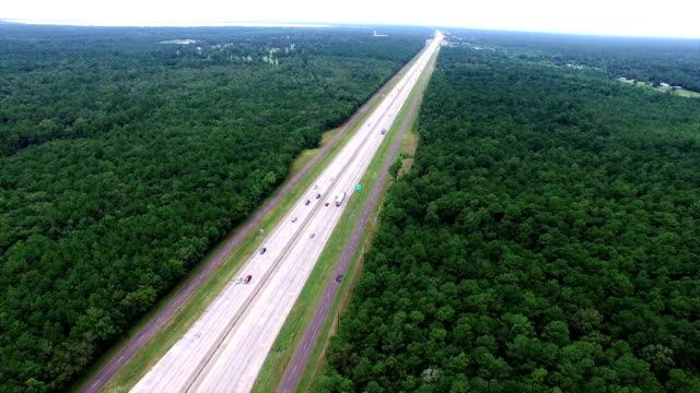 highway cutting across thick forest aerial view east texas deforestation to make transportation - louisiana video stock e b–roll