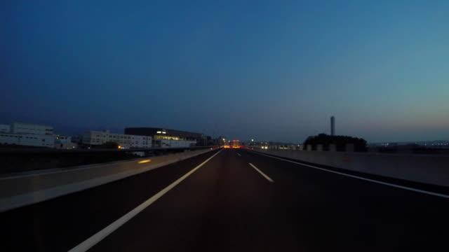 Highway drive at dawn