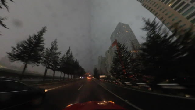highway driving under a storm - city break stock videos & royalty-free footage