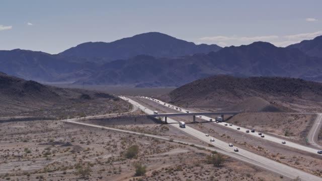highway exit near zzyzx, ca - drone shot - deserto mojave video stock e b–roll