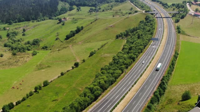 highway from above - trucks in a row stock videos & royalty-free footage