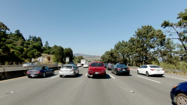 sf highway iii synced series front view driving process plate - car point of view stock videos & royalty-free footage