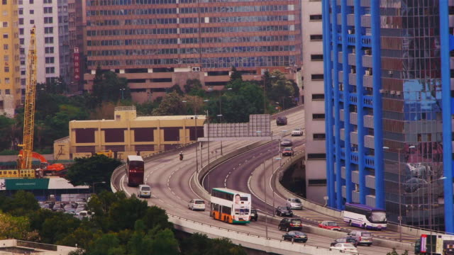 highway in hong kong, seen from the megabox mall - spoonfilm stock-videos und b-roll-filmmaterial