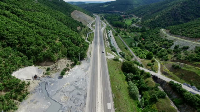 4K AERIAL Highway in the rural area