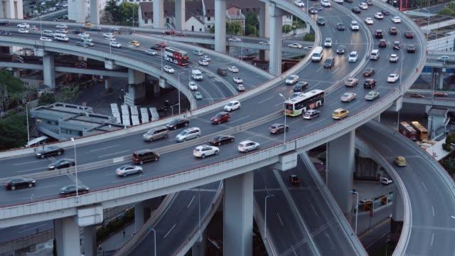 highway interchange in shanghai, china - motorway junction stock videos & royalty-free footage