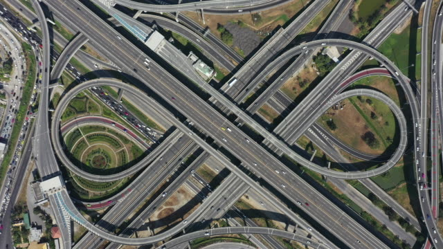 highway intersection, aerial view of the expressway - part of stock videos & royalty-free footage