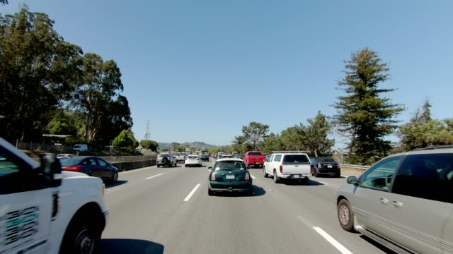 sf highway iv synced series front view driving process plate - traffic jam stock videos & royalty-free footage