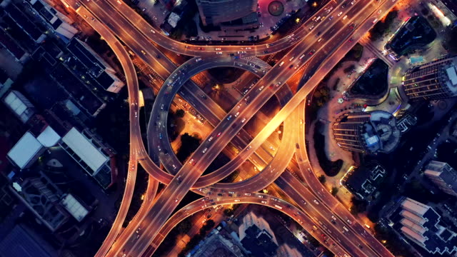 highway junction aerial view - motorway stock videos & royalty-free footage
