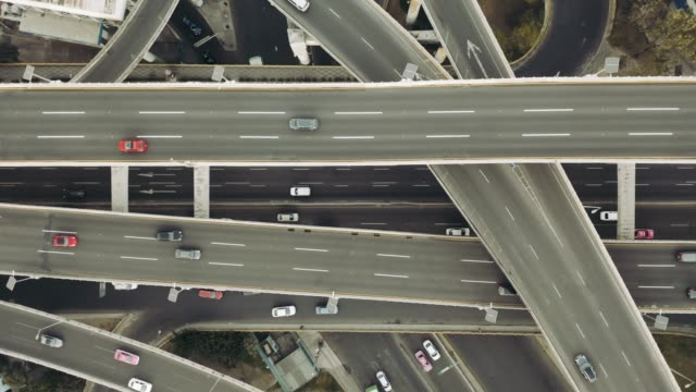 Highway junction aerial view