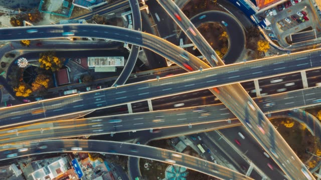 highway junction aerial view. - traffic time lapse stock videos & royalty-free footage