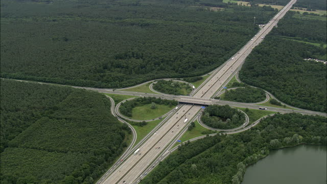 AERIAL Highway junction in rural landscape, Frankfurt am Main, Hesse, Germany