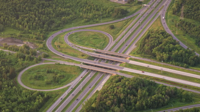 aerial highway overpass near montreal, canada - major road stock videos & royalty-free footage