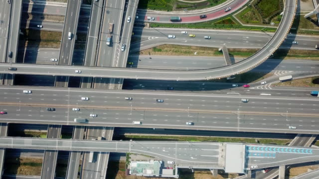 highway road aerial view - motorway junction stock videos & royalty-free footage