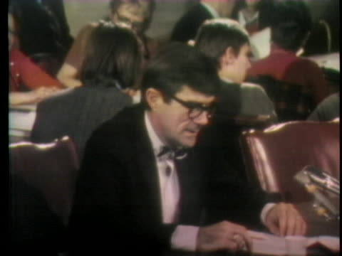 stockvideo's en b-roll-footage met highway safety expert dr. william haddon testifies at a senate hearing on the fragile bumpers of 1973 american-made cars. - made in the usa korte frase