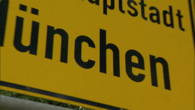 CU ZO LA Highway sign reading 'Landeshauptstadt Munchen' / Munich, Bavaria, Germany