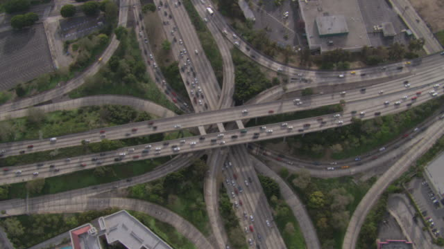AERIAL Highway system of freeways, interchanges, overpasses, and loops / Los Angeles, California, United States