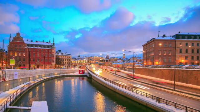 highway to gamla stan stockholm city at dusk sweden - old town stock videos & royalty-free footage
